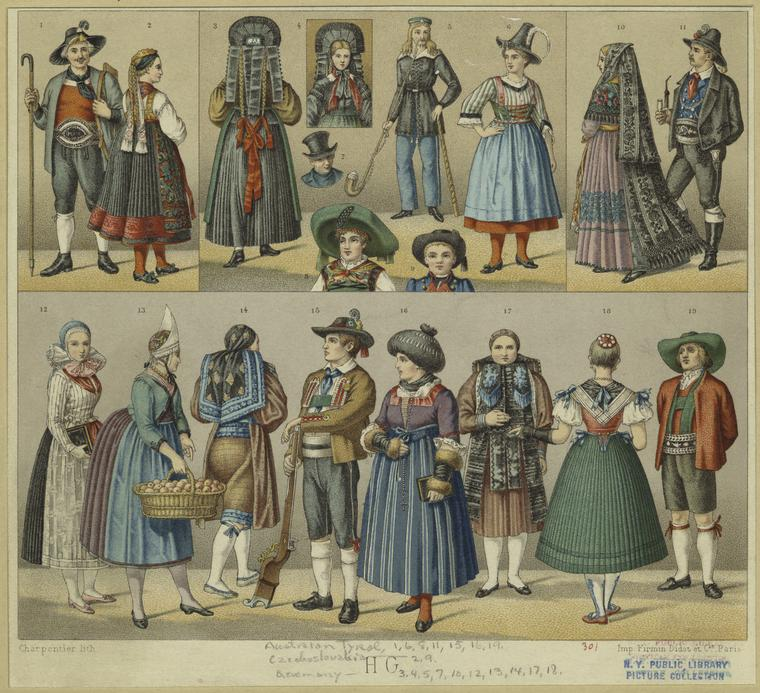 [Austrian Tyrol, Czechoslovakian, and German traditional dress.]