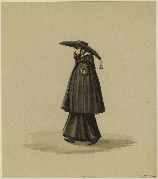 [Peruvian man wearing a large hat.]