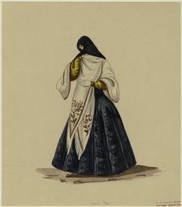 [Peruvian woman with covered face.]