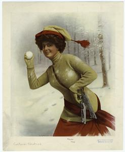 [Woman with snowball and skates.]