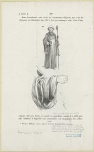 Benedictine abbot, black robe with hood & very wide sleeves, battoned back not to impede movements of hands, ca. 1450.