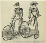 Wool Cycling Dress With Pleated Back ; Tennis Costume Of Cream Flannel With Striped Sleeves & Trim, Black Ties.