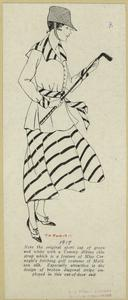 [Woman in golf clothes holding a golf club.]