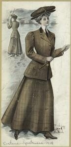 [Woman fishing wearing a two piece suit, boots and hat.]