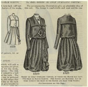 Misses' or girls' gymnastic costume, of which the blouse may have two-seam or blouse sleeves.