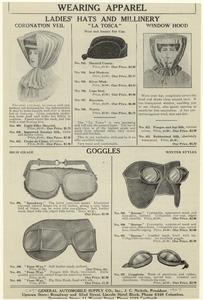 Wearing apparel : Ladies' hats and millinery ; Goggles.