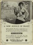 Advertisement For Keller Knitting Co. Featuring Woman In A Sweater With A Tennis Racket.