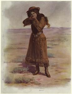 [Woman in western style clothing aiming a gun.]