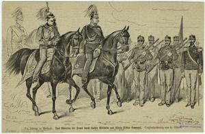 Die Festtage in Mailand : das Abreiten der Front durch Kaiser Wilhelm und König Viktor Emanuel.