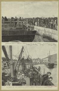 Aspecto del muelle al comenzar á embarcar el ganado en las gabarras ; La cubierta del vapor (Montevideo) durante el ambarco.