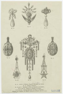 [Earrings, pendants, and brooches, nineteenth century.]
