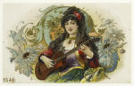 Young woman (gypsy?) playing the guitar, with floral decoration.