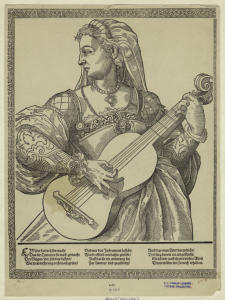 [Woman playing the lute.]