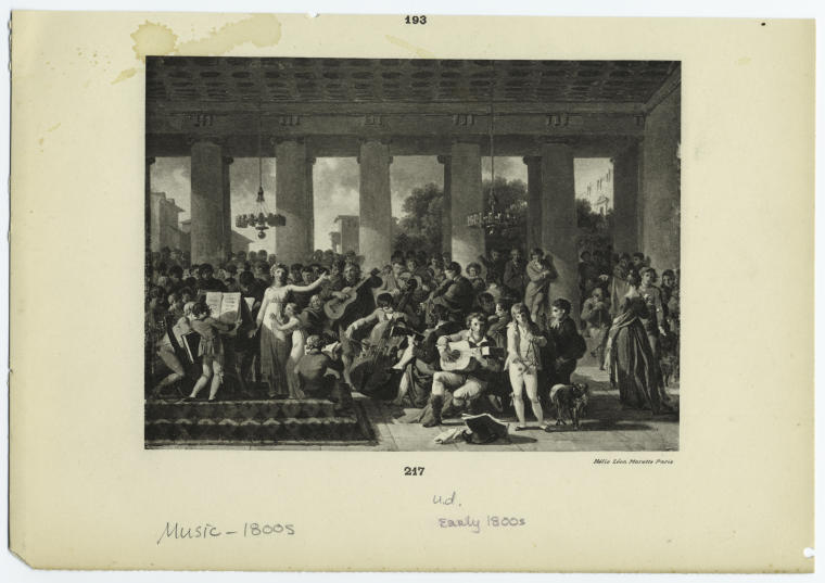 [Nineteenth century musical performance in a classical setting.]