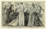 Amorous entertainer and attractive young woman with her grandmother in a crowded drawing room.