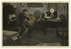 [Man playing the violin by lamplight.]