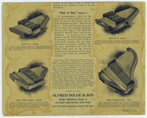 [Alfred Dolge & Son autoharp advertisement (detail).]