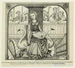 Représentation allégorique de la Musique sous la figure d'une femme du temps de Charles VIII, qui accompagne sur le tympanon un chœr de musiciens d'église et de chambre