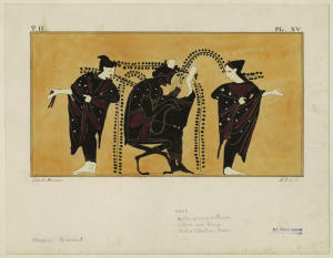 [Apollo, playing the cithara, with Leto and Artemis.]
