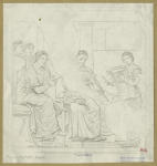 Musical performance featuring seated female singer (?), male aulos (flute player), and young female playing the cithara.