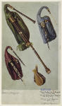 Modern Northumbrian bagpipe with a crimson bag ; Ancient Northumbrian bagpipe with blue bag ; Lowland Scotch bagpipe with green bag ; The bellows of the modern Northumbrian bagpipe.