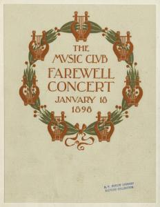 The Music Club farewell concert January 18, 1896.