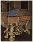 Spinet and stand, painted