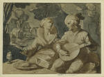 Woman seated with lute player.