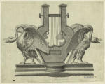 Lyre and decorative swans.