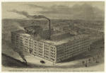 Bird's-eye view of Steinway & Sons' pianoforte factory and lumber yard, occupying the entire block on Fourth Avenue between 52nd and 53rd Streets, N.Y.