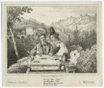 Man playing the zither seated with woman in front of scenic landscape.