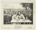Man playing the zither seated with woman above a scenic overlook.
