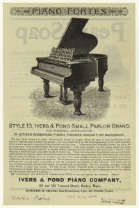 [Advertisement for Ivers & Pond small grand piano.]