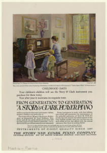 [Advertisement for the Story & Clark player piano.]