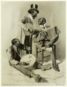 [Music ensemble with banjo, accordion and drum.]