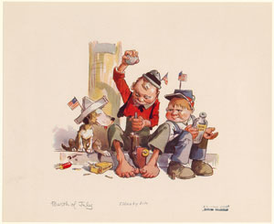 [Boys celebrating the Fourth of July, stuffing gunpowder into a toy cannon.]