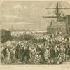 Embarkation of dockyard workmen as emigrants at Portsmouth