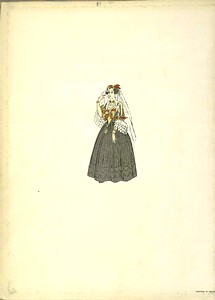 [Woman in a gray dress wearing a veil.]