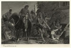[Group of American Indians dragging a woman out from hiding.]