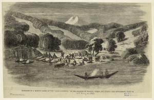 """Massacre of a mission party of the """"Alan [i.e. Allen] Gardiner"""" by the natives at Woolya, Tierra del Fuego."""