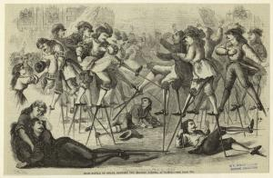 Sham battle on stilts, between two trained parties, at Namur.