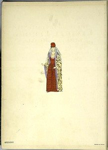 [Woman in red dress and patterned robe.]