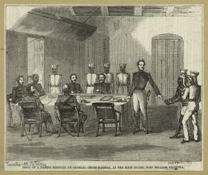 Trial of a native prisoner by general court-martial, at the main guard, Fort William, Calcutta.