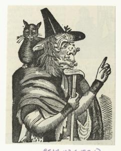 [Witch and a black cat.]
