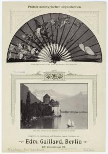 [Fan with cherubs and butterflies ; Chillon castle.]