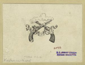 [Smoking pistols in a design suggesting the history of the handgun.]