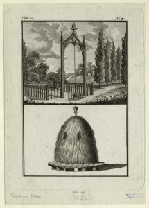 [Garden structure with seating and skittles frame ; thatch structure.]