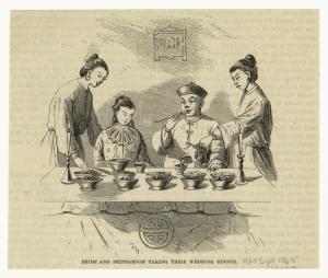 Bride and bridegroom taking their wedding dinner.