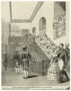The royal marriage : the bridal procession, staircase, St. James's Palace.