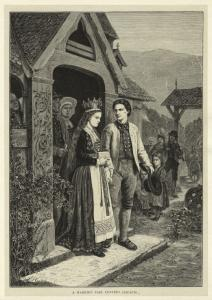 A married pair leaving church. Digital ID: 835490. New York Public Library